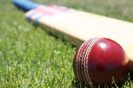 4092753-new-cricket-ball-and-bat-on-green-grass-