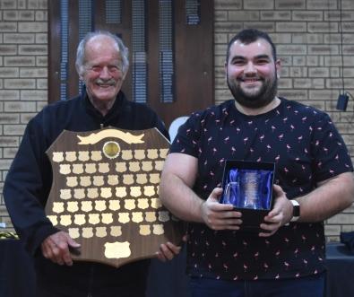 (left) Rob Mullane with Matthew Pedulla 2019/20 Frank Macgrotty Award Winner 2019/20